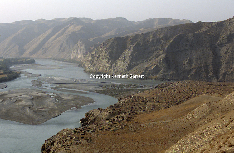 Ai Khanum, on the Amu Daryu river, Looters' holes; city founded in 4th century BC, after Alexander the Great, Kunduz area, Afghanistan.