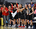 SIOUX FALLS, SD: MARCH 12:  Players on the Central Missouri bench celebrate after a score against Augustana during the 2018 NCAA Division II Women's Basketball Central Region Championship Monday at the Elmen Center in Sioux Falls, S.D. (Photo by DIck Carlson/Inertia)