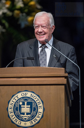 Mar. 4, 2015; Former President of the United States, Jimmy Carter, speaks during a tribute ceremony in the Purcell Pavilion to honor the life of the late President Emeritus Rev. Theodore M. Hesburgh, C.S.C. (Photo by Barbara Johnston/University of Notre Dame)