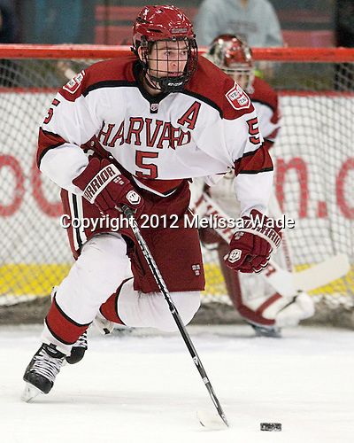 Dan Ford (Harvard - 5) - The Harvard University Crimson defeated the visiting Bentley University Falcons 5-0 on Saturday, October 27, 2012, at Bright Hockey Center in Boston, Massachusetts.