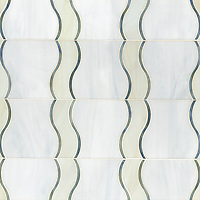 Danube, a waterjet mosaic shown in Chalcedony, Quartz, and Moonstone jewel glass, is part of the Silk Road collection by Sara Baldwin for New Ravenna.