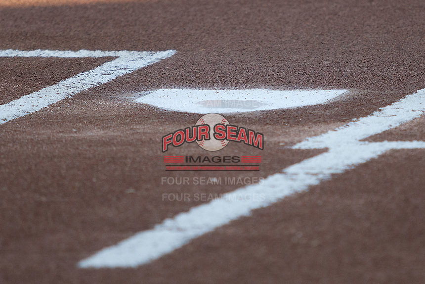 Home plate at the Dell Diamond in Round Rock, Texas before a game. (Andrew Woolley/Four Seam Images).