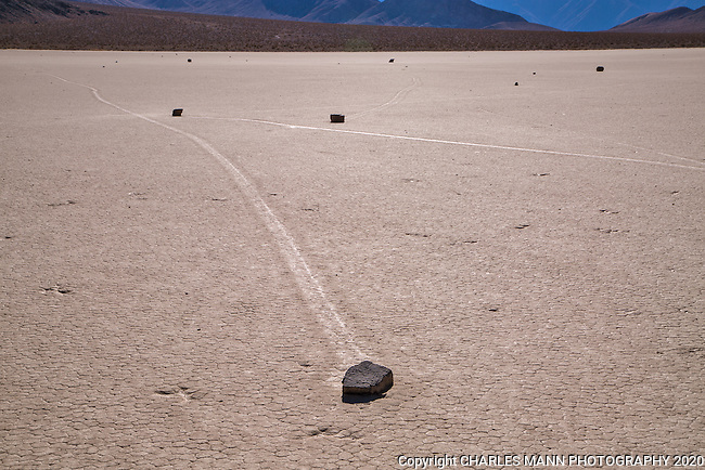 The Racetrack, where stones mysteriously move over the surface of a large flat dry lake, called a playa, is one of several popular off road destinations for visitors of  Death Valley National Park.