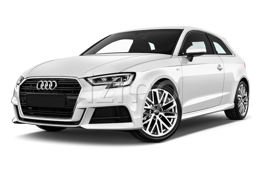 Stock pictures of low aggressive front three quarter view of 2017 Audi A3 Sport 3 Door Hatchback Low Aggressive