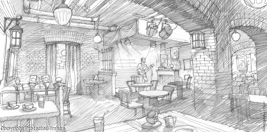 Preliminary sketch of the interior of the Gaslight Cafe which was in the basement of 116 MacDougal Street in Greenwich Village.