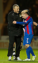CALEY MANAGER TERRY BUTCHER CONGRATULATES JONNY HAYES AT THE END OF THE GAME..03/12/2011   Copyright  Pic : James Stewart.sct_jsp017_st_mirren_v_ict  .James Stewart Photography 19 Carronlea Drive, Falkirk. FK2 8DN      Vat Reg No. 607 6932 25.Telephone      : +44 (0)1324 570291 .Mobile              : +44 (0)7721 416997.E-mail  :  jim@jspa.co.uk.If you require further information then contact Jim Stewart on any of the numbers above.........