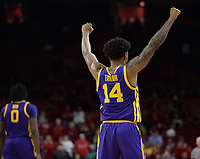 NWA Democrat-Gazette/ANDY SHUPE<br /> LSU guard Marlon Taylor celebrates Friday, Jan. 11, 2019, after the Tigers' win over Arkansas in Bud Walton Arena in Fayetteville. Visit nwadg.com/photos to see more photographs from the game.