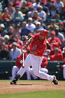 TEMPE - MARCH 14:  Kendry Morales of the Los Angeles Angels of Anaheim bats during a spring training game against the Chicago Cubs on March 14, 2010 at Tempe Diablo Stadium in Tempe, Arizona. (Photo by Brad Mangin)