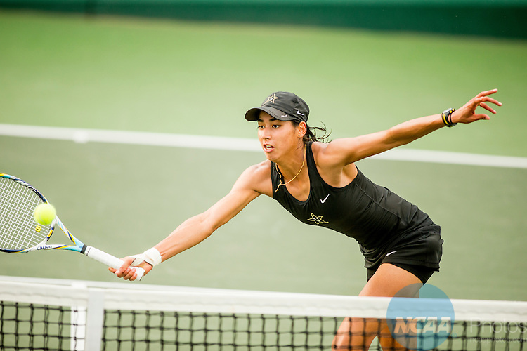 19 MAY 2015: Astra Sharma of Vanderbilt University volleys during her match with UCLA's Chanelle Van Nguyen at the Division I Women's Tennis Championship is held at the Hurd Tennis Center on the Baylor University campus in Waco, TX.  Vanderbilt defeated UCLA 4-1 to win the team national title.  Darren Carroll/NCAA Photos