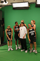 4 April 2008: Stanford Cardinal (L-R) JJ Hones, Candice Wiggins, Jayne Appel, head coach Tara VanDerveer, Rosalyn Gold-Onwude, and Kayla Pedersen during Stanford's ESPN television tease shoot for the 2008 NCAA Division I Women's Basketball Final Four at the St. Pete Times Forum Arena in Tampa Bay, FL.