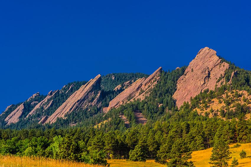 The Flatirons rock formations, Chautauqua Park, Boulder, Colorado USA.
