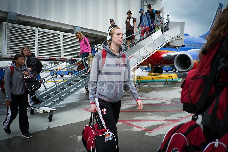 SPOKANE, CA - MARCH 28, 2013 - Stanford Women's Basketball arrivals in Spokane, WA.