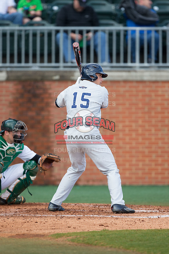 Roman Collins (15) of the Florida Atlantic Owls at bat against the Charlotte 49ers at Hayes Stadium on March 14, 2015 in Charlotte, North Carolina.  The Owls defeated the 49ers 8-3 in game one of a double header.  (Brian Westerholt/Four Seam Images)
