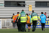Aron Davies of Maidstone United, on loan from Fulham,  is carried off on a stretcher after suffering a painful injury during Maidstone United vs Havant and Waterlooville, Vanarama National League Football at the Gallagher Stadium on 9th March 2019