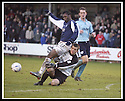 01/02/2003                   Copyright Pic : James Stewart.File Name : stewart-falkirk v st john 06.KEVIN CUTHBERT SAVES AT THE FEET OF COLLIN SAMUEL...James Stewart Photo Agency, 19 Carronlea Drive, Falkirk. FK2 8DN      Vat Reg No. 607 6932 25.Office     : +44 (0)1324 570906     .Mobile  : +44 (0)7721 416997.Fax         :  +44 (0)1324 570906.E-mail  :  jim@jspa.co.uk.If you require further information then contact Jim Stewart on any of the numbers above.........