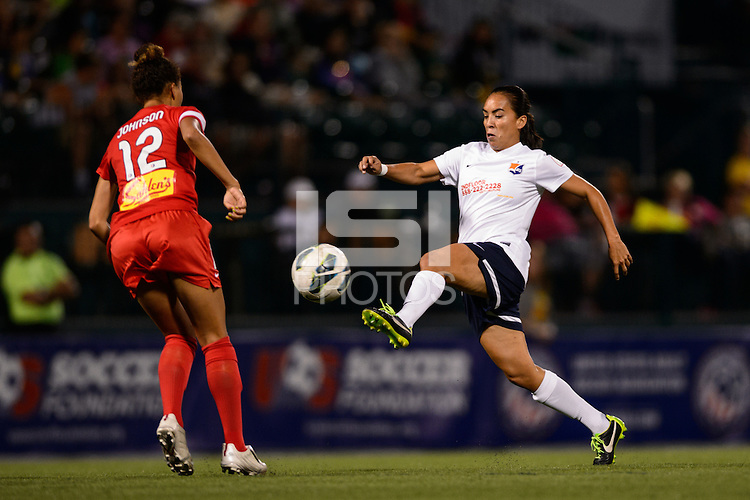 Sky Blue FC forward Monica Ocampo (8) plays the ball. The Western New York Flash defeated Sky Blue FC 2-0 during a National Women's Soccer League (NWSL) semifinal match at Sahlen's Stadium in Rochester, NY, on August 24, 2013.