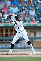 Jose Rondon (6) of the Charlotte Knights at bat against the Toledo Mud Hens at BB&T BallPark on June 22, 2018 in Charlotte, North Carolina. The Mud Hens defeated the Knights 4-0.  (Brian Westerholt/Four Seam Images)