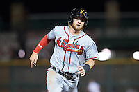 Salt River Rafters Dustin Peterson (16), of the Atlanta Braves organization, during a game against the Scottsdale Scorpions on October 12, 2016 at Scottsdale Stadium in Scottsdale, Arizona.  Salt River defeated Scottsdale 6-4.  (Mike Janes/Four Seam Images)