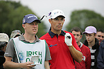 Padraig Harrington, with caddy Ronan Flood, waits to tee off on the 16th tee during Day 2 of the 3 Irish Open at the Killarney Golf & Fishing Club, 30th July 2010..(Picture Eoin Clarke/www.golffile.ie)