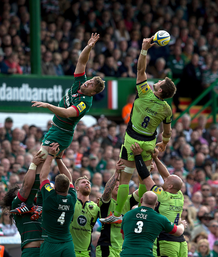 Leicester Tigers' Ed Slater and Northampton Saints' Phil Dowson battle for a line-out ball<br /> <br /> Photographer Stephen White/CameraSport<br /> <br /> Rugby Union - Aviva Premiership - Leicester Tigers v Northampton Saints - Saturday 16th May 2015 - Welford Road - Leicester<br /> <br /> &copy; CameraSport - 43 Linden Ave. Countesthorpe. Leicester. England. LE8 5PG - Tel: +44 (0) 116 277 4147 - admin@camerasport.com - www.camerasport.com