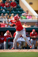 Florida Southern Moccasins shortstop Pablo Cabrera (2) at bat during an exhibition game against the Detroit Tigers on February 29, 2016 at Joker Marchant Stadium in Lakeland, Florida.  Detroit defeated Florida Southern 7-2.  (Mike Janes/Four Seam Images)