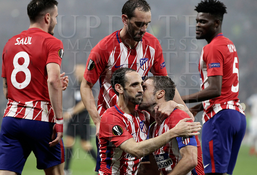 Club Atletico de Madrid's Gabi, bottom right, celebrates with his teammates after scoring during the UEFA Europa League final football match between Olympique de Marseille and Club Atletico de Madrid at the Groupama Stadium in Decines-Charpieu, near Lyon, France, May 16, 2018.<br /> UPDATE IMAGES PRESS/Isabella Bonotto