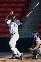 Marcus Davis (30) of the Hickory Crawdads follows through on his swing versus the Columbus Catfish at L.P. Frans Stadium in Hickory, NC, Wednesday, May 21, 2008.