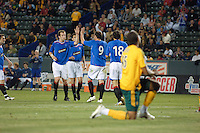 Los Angeles Galaxy's Kyle Veris gets up after  Rangers FC Kris Boyd scores the lone goal of the match. The Glasgow Rangers FC beat the LA Galaxy 1-0 in an International friendly match played at the Home Depot Center in Carson, California, Wednesday, May 23, 2007.