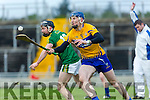Kerry's John Egan and Clare's David Fitzgerald at the Munster Hurling League match Kerry v Clare in Austin Stack Park on Sunday