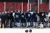 UNH players addressed by Joe Bertagna before leaving the ice. - The University of New Hampshire Wildcats practiced at Fenway on Friday, January 13, 2017, in Boston, Massachusetts.