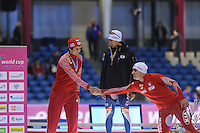 SCHAATSEN: HEERENVEEN: IJsstadion Thialf, 16-11-2012, Essent ISU World Cup, Season 2012-2013, Men 5000 meter Division B, podium, Denis Yuskov (RUS), Seung-Hoon Lee (KOR), Jan Szymanski (POL), ©foto Martin de Jong