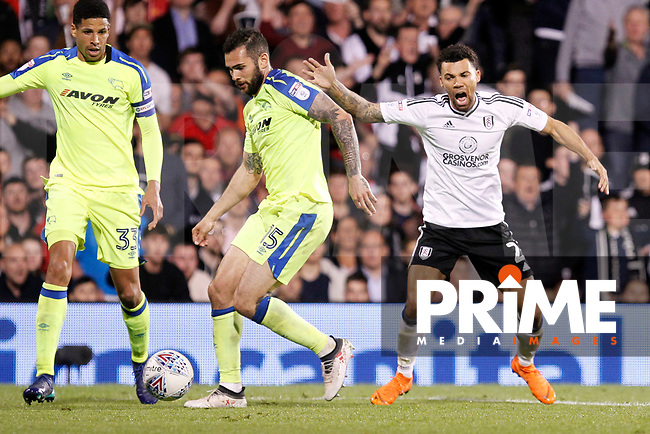 Ryan Fredericks of Fulham seeks the foul during the Sky Bet Championship play off semi final 2nd leg match between Fulham and Derby County at Craven Cottage, London, England on 15 May 2018. Photo by Carlton Myrie / PRiME Media Images.