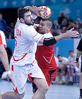 Egypt's Mohamed Mamdouh (r) and Spain's Jorge Maqueda Pena during 23rd Men's Handball World Championship preliminary round match.January 14,2013. (ALTERPHOTOS/Acero) /NortePhoto