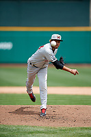 Wisconsin Timber Rattlers relief pitcher Nattino Diplan (33) delivers a pitch during a game against the Fort Wayne TinCaps on May 10, 2017 at Parkview Field in Fort Wayne, Indiana.  Fort Wayne defeated Wisconsin 3-2.  (Mike Janes/Four Seam Images)
