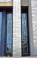F.L. Wright: Dana House. Detail--leaded glass casement windows in East Wing.  Photo '78.