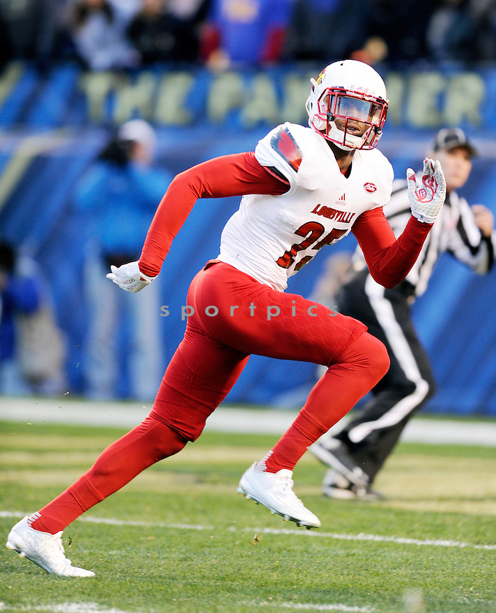 Louisville Cardinals Josh Harvey-Clemons (25) in action during a game against the Pittsburgh Panthers on November 21, 2015 at Heinz Field in Pittsburgh, PA. Pittsburgh beat Louisville 45-34.