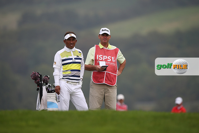Thongchai Jaidee (THA) and caddie Cliff during Round Three of the ISPS Handa Wales Open 2014 from the Celtic Manor Resort, Newport, South Wales. Picture:  David Lloyd / www.golffile.ie