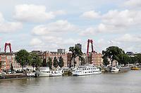 Nederland Rotterdam 2016 . Het Noordereiland. Boten liggen aan de Prins Hendrikkade.  Foto Berlinda van Dam / Hollandse Hoogte