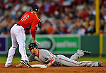 8 June 2012: Washington Nationals outfielder Bryce Harper slides safely into second with a double in the 3rd inning against the Boston Red Sox at Fenway Park in Boston, MA. The Nationals defeated the Red Sox 7-4 in the opening game of their 3-game series. Mandatory Credit: Ed Wolfstein Photo