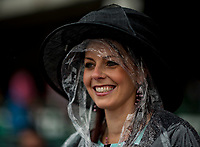 LOUISVILLE, KY - MAY 05: A woamn wears a poncho and hat on Kentucky Oaks Day at Churchill Downs on May 5, 2017 in Louisville, Kentucky. (Photo by Scott Serio/Eclipse Sportswire/Getty Images)