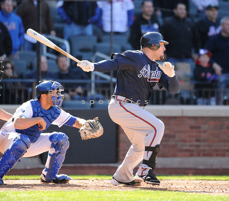 ERIC HINSKE, of the Atlanta Braves, in action during the Braves game against the New York Mets on April 7, 2012 at Citi Field in Corona, NY. The Mets beat the Braves 4-2.