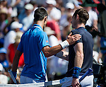 Novak Djokovic (SRB) and Andy Murray (GBR) shake hands after their semifinal match. Djokovic advanced to Sunday's final after defeating Murray by 62 63 at the BNP Parisbas Open in Indian Wells, CA on March 21, 2015.