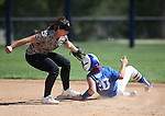 Western Nevada College Wildcats' Makaylee Jaussi steals second base under the tag of Shasta College's Megan McColpin during a preseason softball game in Reno, Nev., on Saturday, Sept. 20, 2014.<br /> Photo by Cathleen Allison