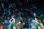 ENG - London, England, October 30: During the prize giving ceremony after the bronze medal match between South Africa (green/gold) and Argentina (blue/white) on October 30, 2015 at The Stadium, Queen Elizabeth Olympic Park in London, England. Final score 24-13 (HT 16-0). (Photo by Dirk Markgraf / www.265-images.com) *** Local caption *** (L-R) Schalk Burger #7 of South Africa, Fourier du Preez, Jannie Du Plessis #18 of South Africa, Victor Matfield #5 of South Africa, Bryan Habana #11 of South Africa