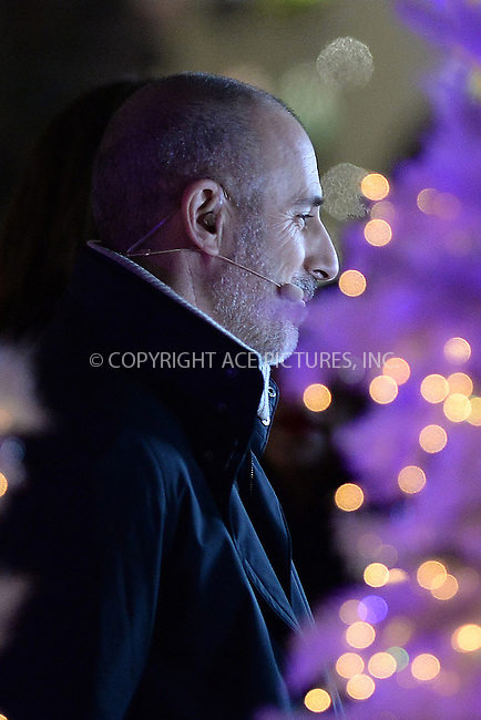 www.acepixs.com<br /> November 30, 2016  New York City<br /> <br /> Matt Lauer stage at The Rockefeller Center Christmas Tree lighting ceremony on November 30, 2016 in New York City.<br /> <br /> <br /> Credit: Kristin Callahan/ACE Pictures<br /> <br /> <br /> Tel: 646 769 0430<br /> Email: info@acepixs.com