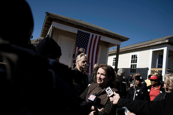 January 30, 2008. New Orleans, LA.. Former US Senator and presidential hopeful John Edwards bowed out of the presidential race today in New Orleans, where he had announced his presidential run in 2007. He spoke at the Musicians Village, a housing community being built in the 9th Ward by Habitat for Humanity.. Elizabeth Edwards spoke to the press after her husband's speech.