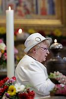 Roselyne, sorella di Padre Jacques Hamel, ucciso a Rowen il 18 luglio 2016, durante la Liturgia della Parola con la Comunita' di Sant'Egidio in commemorazione dei Nuovi Martiri, celebrata da Papa Francesco nella Basilica di San Bartolomeo sull'Isola Tiberina, Roma, 22 aprile 2017.<br /> Roselyne Hamel, sister of Rev. Jacques Hamel, killed on July 26, 2016, speaks during  the Liturgy of the Word in memory of the martyrs of the 20th and 21st centuries, celebrated by Pope Francis in the Basilica of St. Bartholomew at the Tiber Island in Rome, 22 April 2017.<br /> UPDATE IMAGES PRESS/Donatella Giagnori - Pool