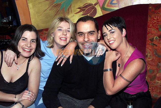 Linda Dardis, Irene Goodwin and Lisa Finnegan with Eastenders star Beppe Di Marco in Earth nightclub..Picture Paul Mohan Newsfile