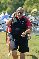 Lucerne, SWITZERLAND, 12th July 2018, Friday  FISA World Cup series, No.3, Lake Rotsee, Lucerne, Chris PERRY, Head Coach, Hong Kong, helps carry boat,