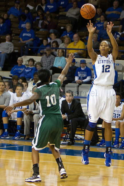 Sophomore F Jelleah Sidney (12) takes a jumper during the UK Hoops vs USC Upstate Women's Basketball game in Lexington, Ky., on Sunday, November 25, 2012. Photo by Matt Burns | Staff